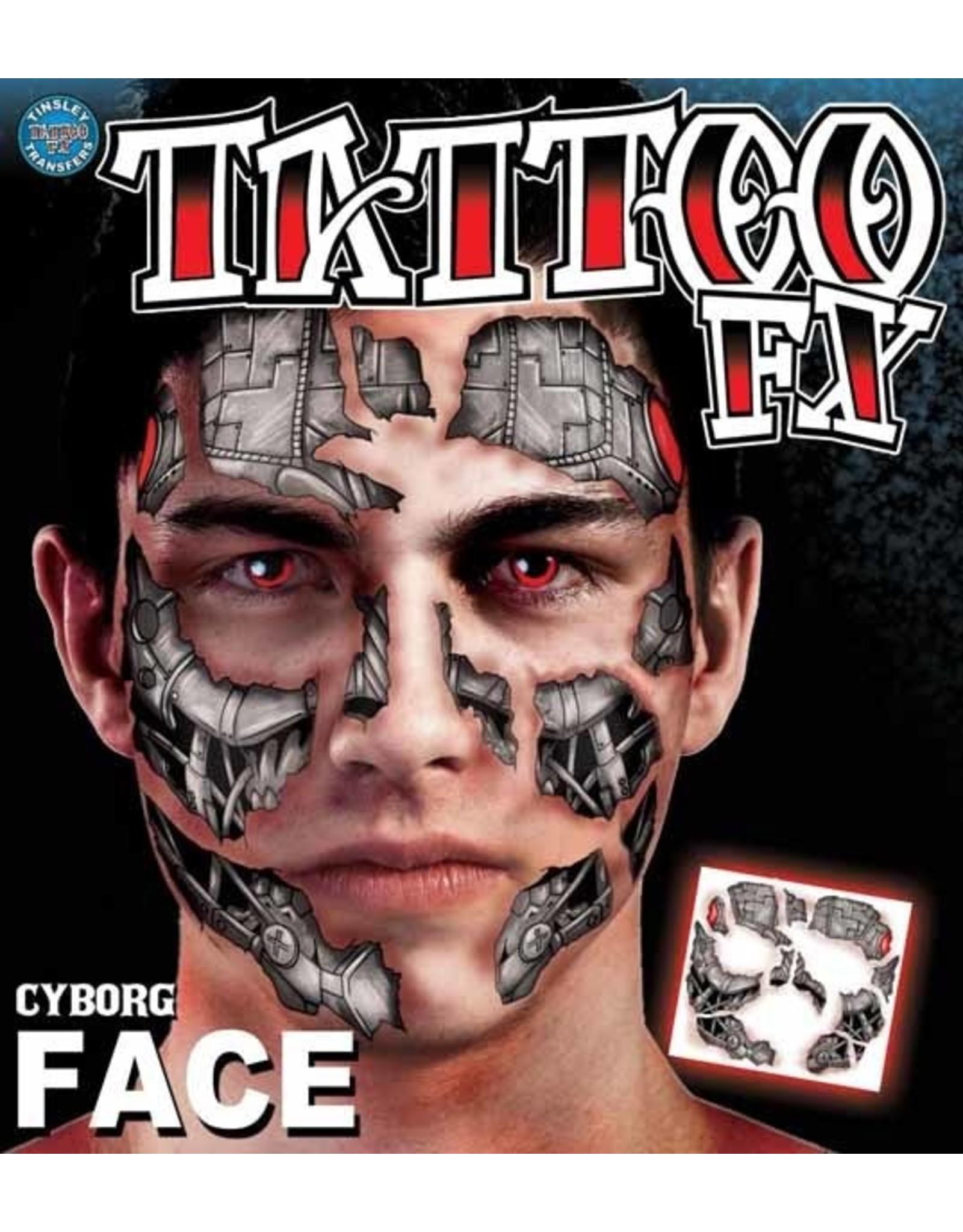 Tinsley Transfers Cyborg Face Temporary Tattoo