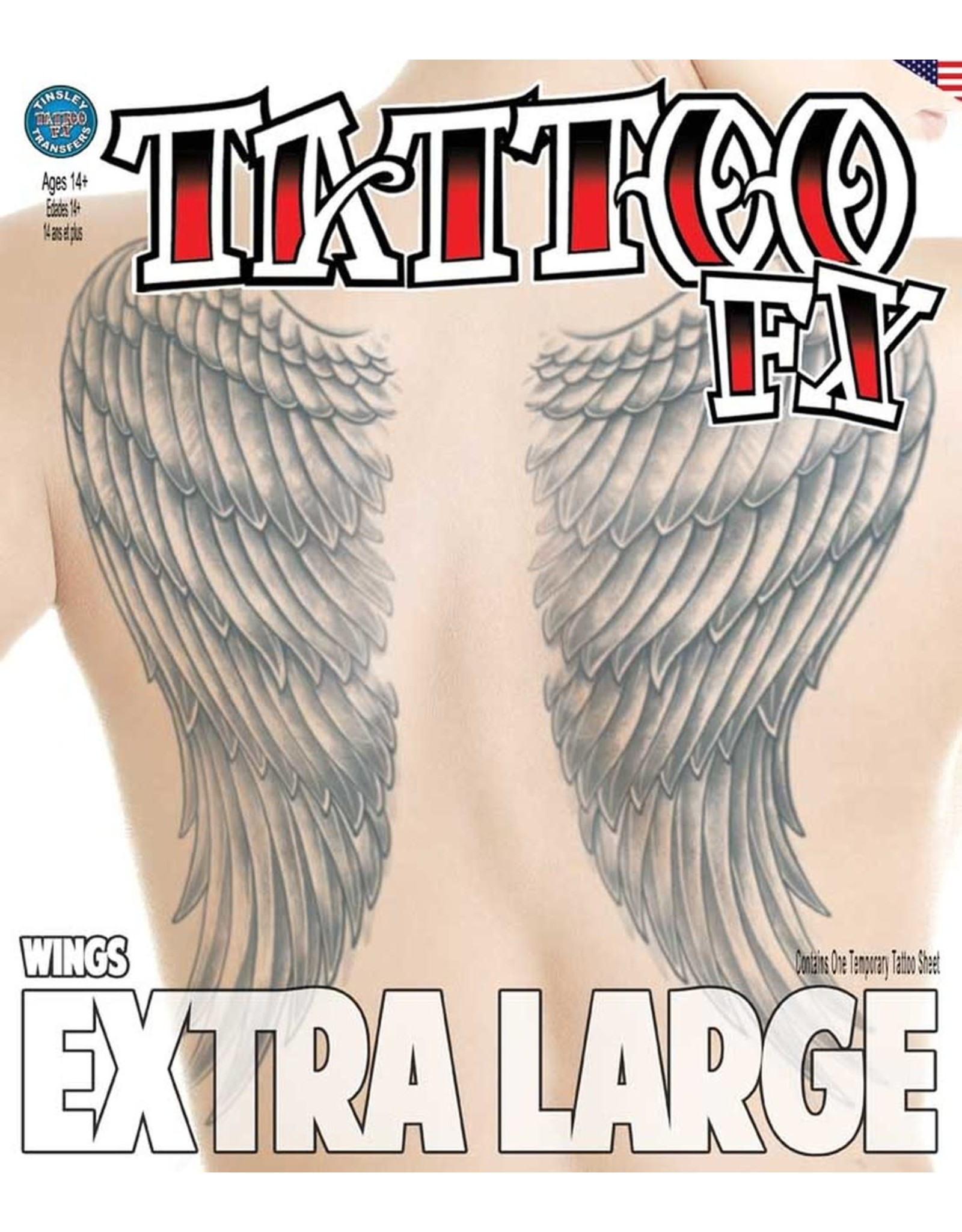 Tinsley Transfers Extra Large Wings Temporary Tattoo