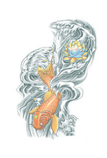 Tinsley Transfers Extra Large Koi Temporary Tattoo