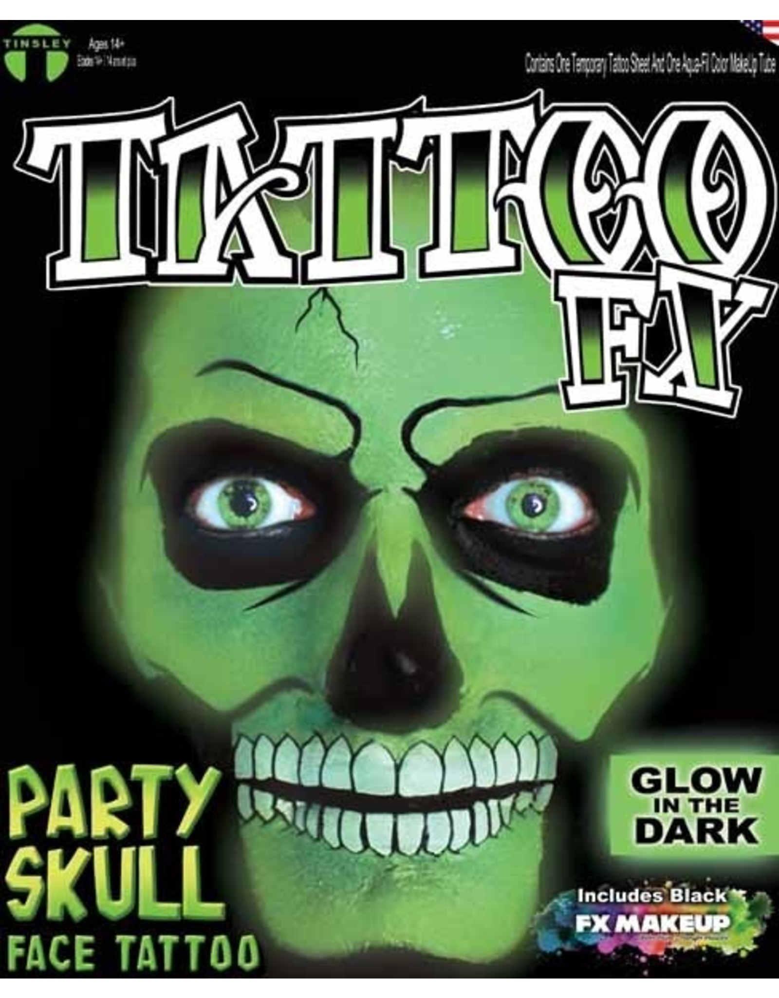 Tinsley Transfers Glow in Dark Skull Makeup Tattoo