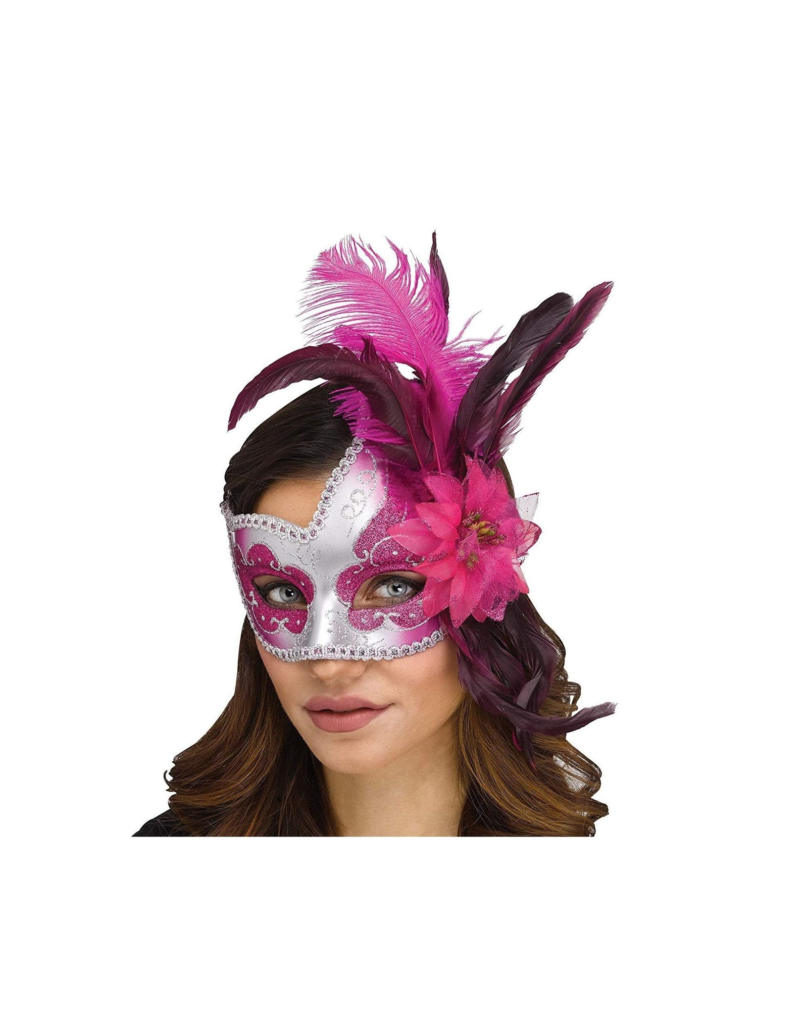 Fun World Mask with Flower and Feathers