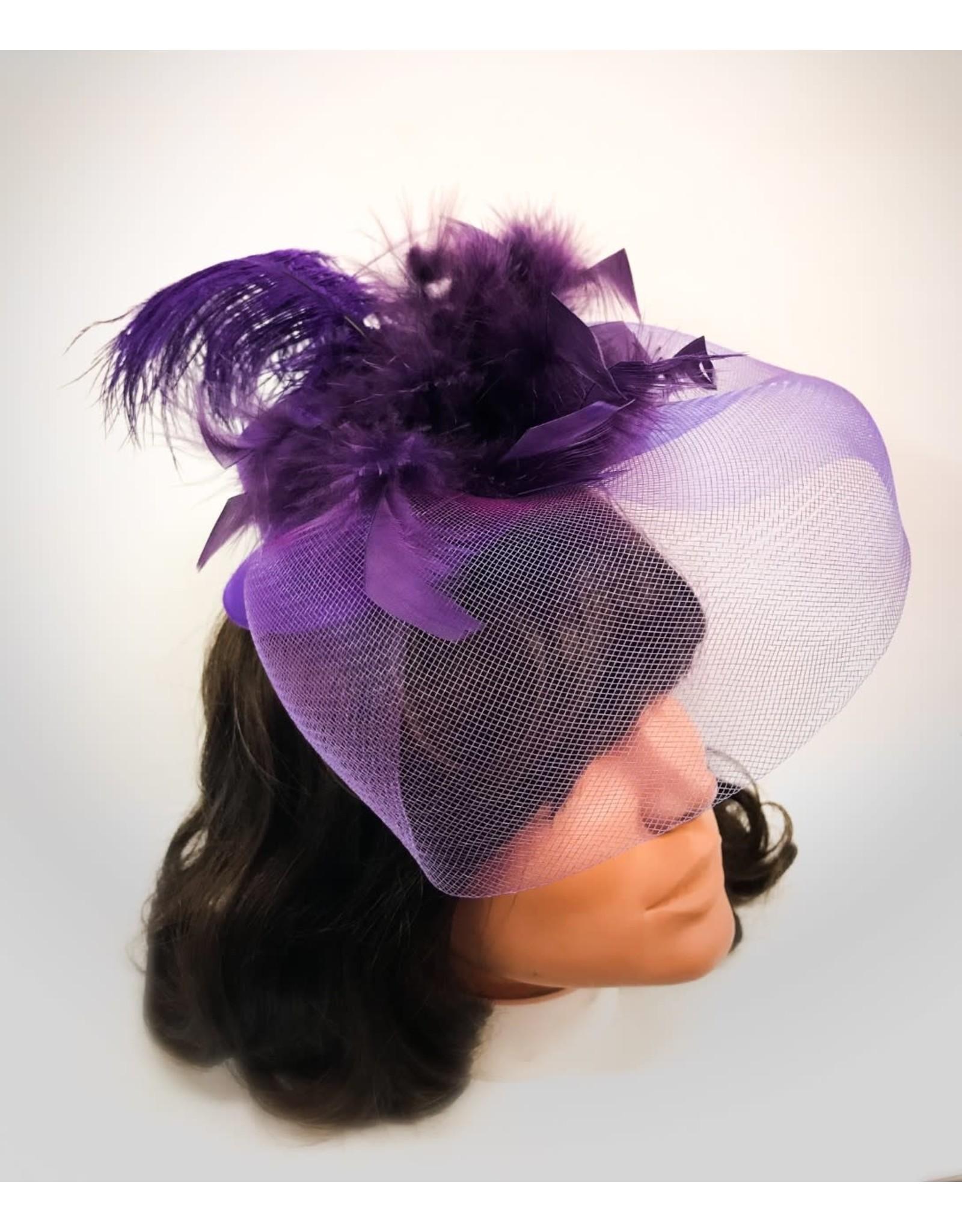 Karries Kostumes Purple Fascinator Mini Top Hat