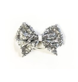 fH2 Silver Sequinned Bow Hair Elastic