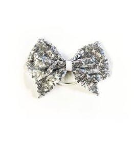 fH2 Silver Sequinned Bow Hair Elastic