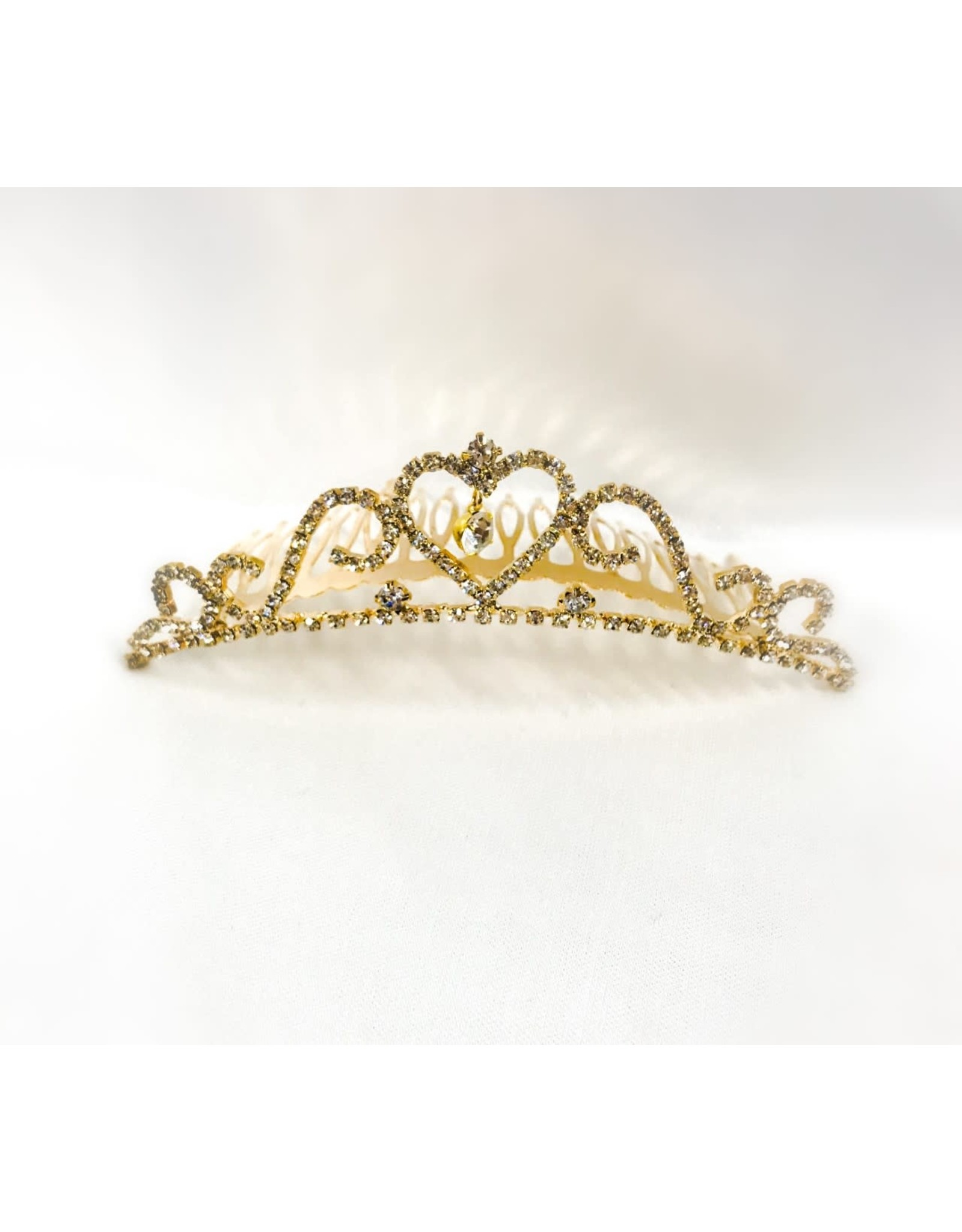 Mimy Design Gold Tiara With Glass Stones