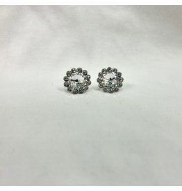 fH2 Crystal Flower Stud Earrings