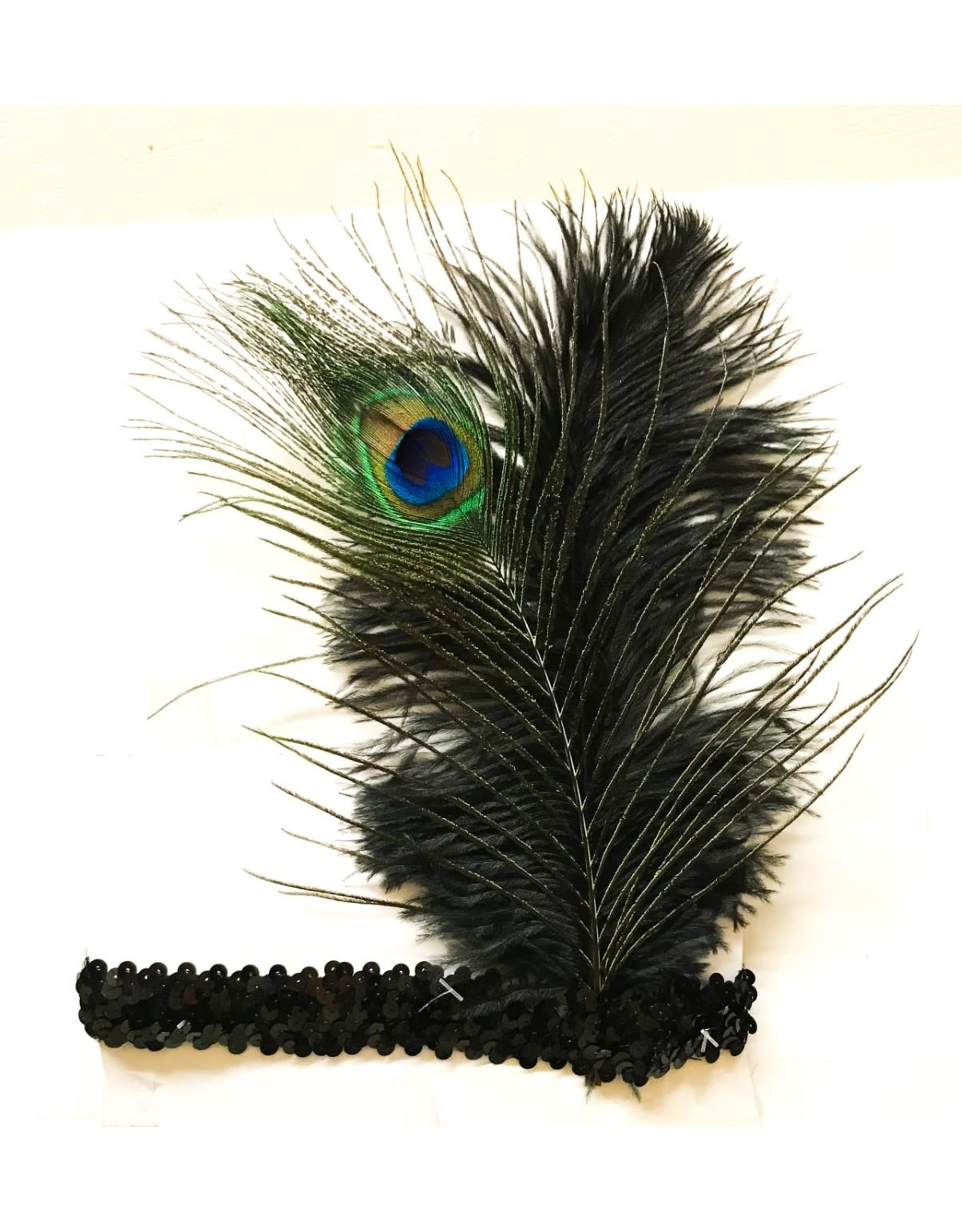 Karries Kostumes Sequin Headband with Peacock Feather