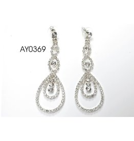 fH2 Rhinestone Dangle Earrings