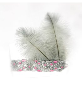 Karries Kostumes Pink and Silver Headband with Feathers