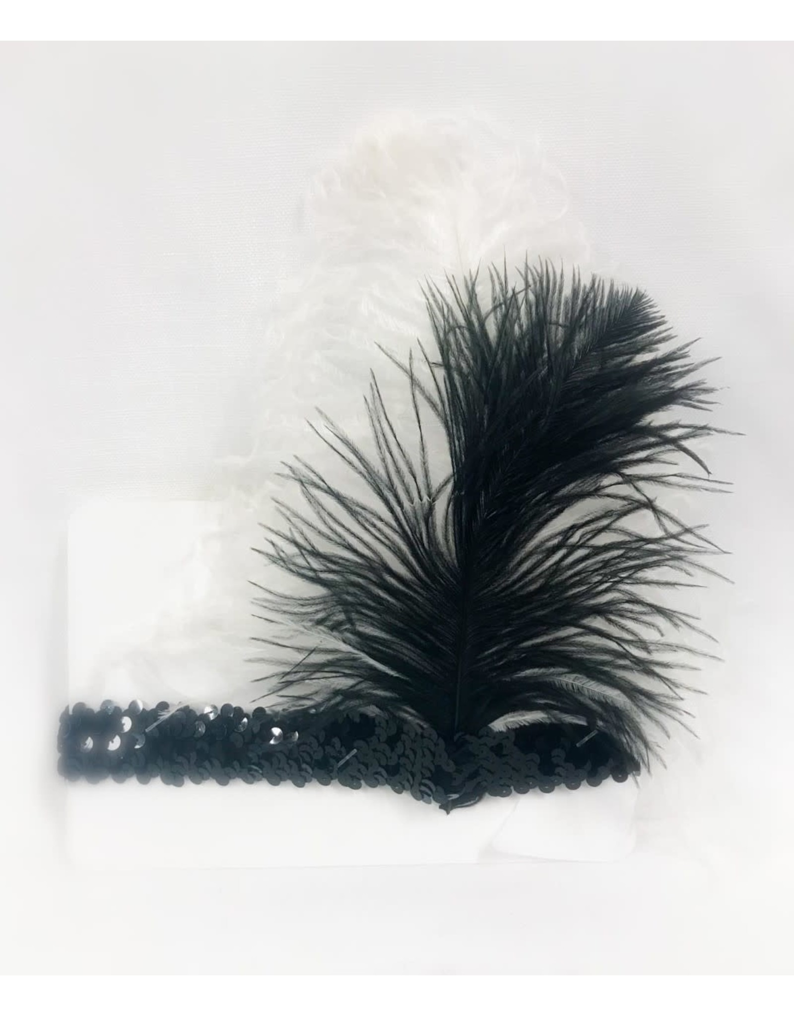 Karries Kostumes Black Sequin Headband with B&W Feathers