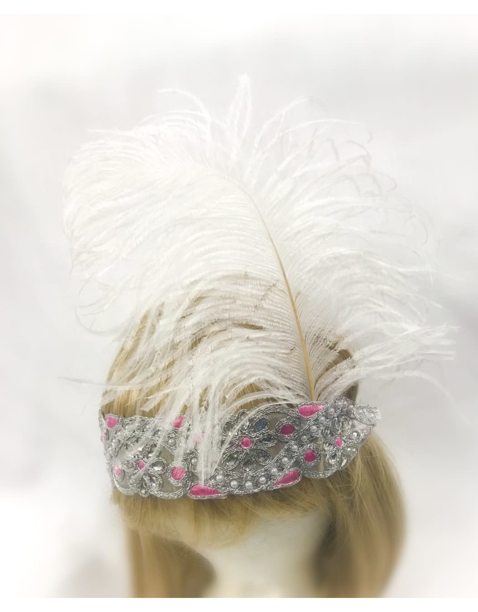 Karries Kostumes Pink and Silver Headband with Feather
