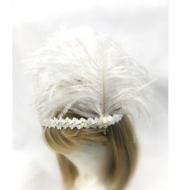 Karries Kostumes White Sequin Headband with Feathers