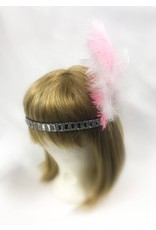 Karries Kostumes Crystal Headband with Pink and White Feathers