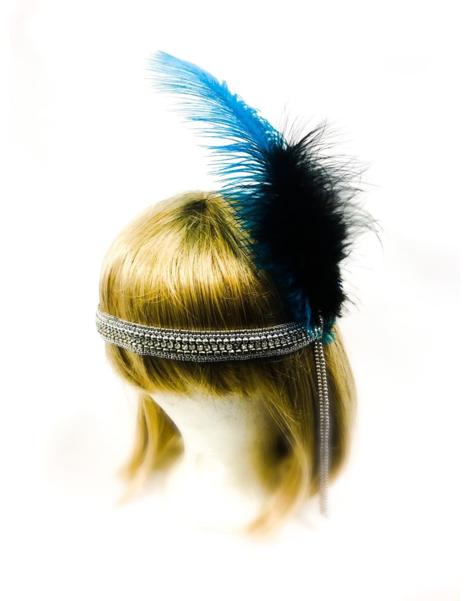 Karries Kostumes Crystal Headband with Blue and Black Feathers