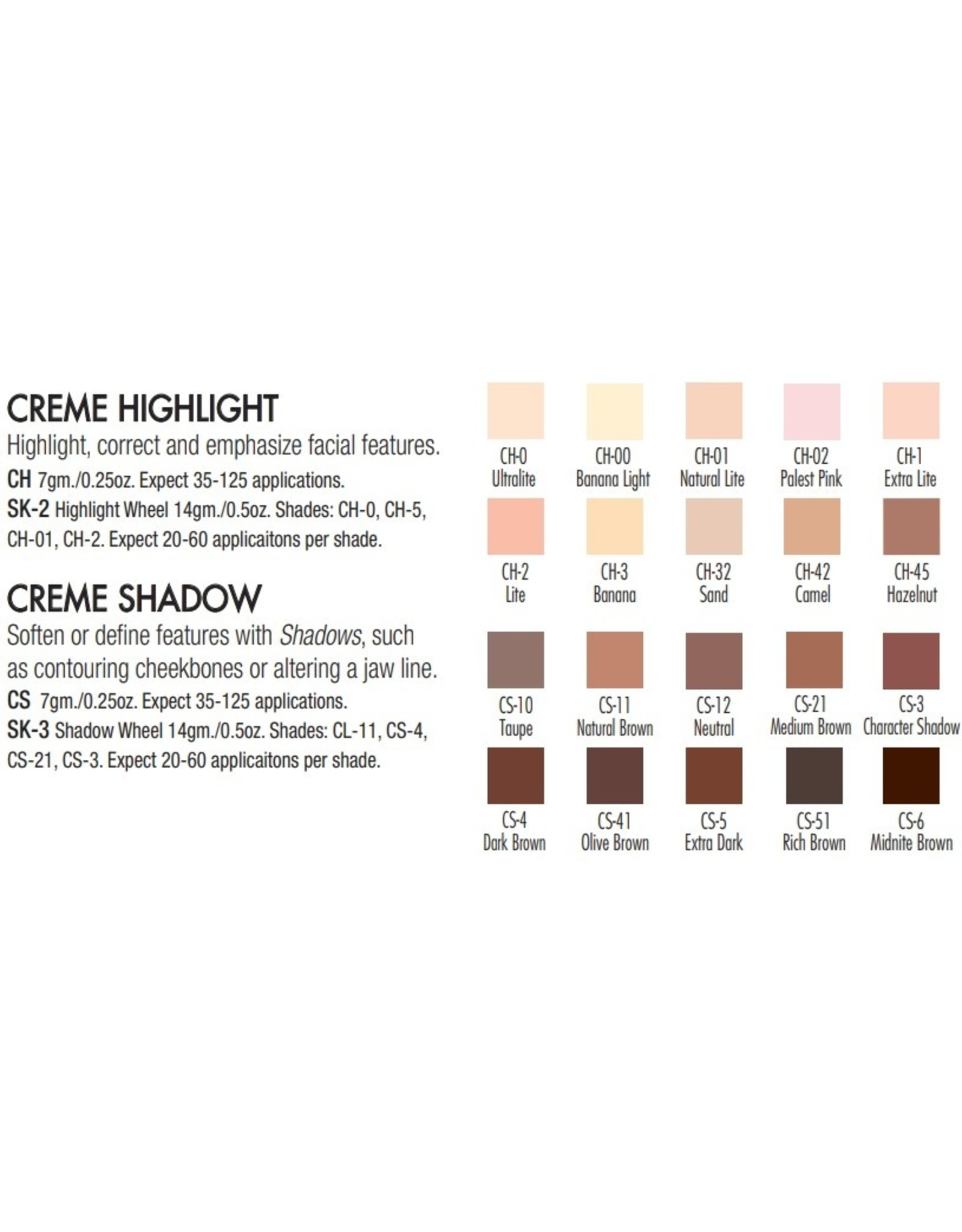 Ben Nye Ben Nye Creme Highlights and Shadows