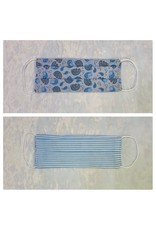 Karries Kostumes Med Fabric Face Mask - Blue Paisley + Stripe
