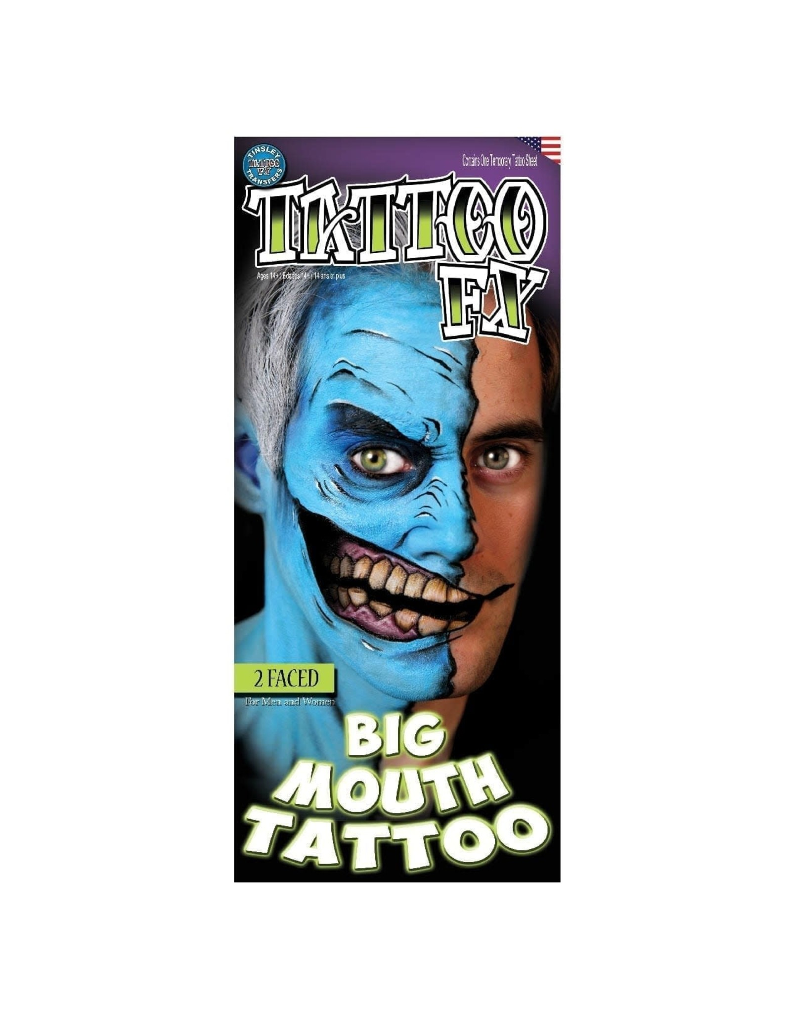 Tinsley Transfers 2 Faced Big Mouth Temporary Tattoo