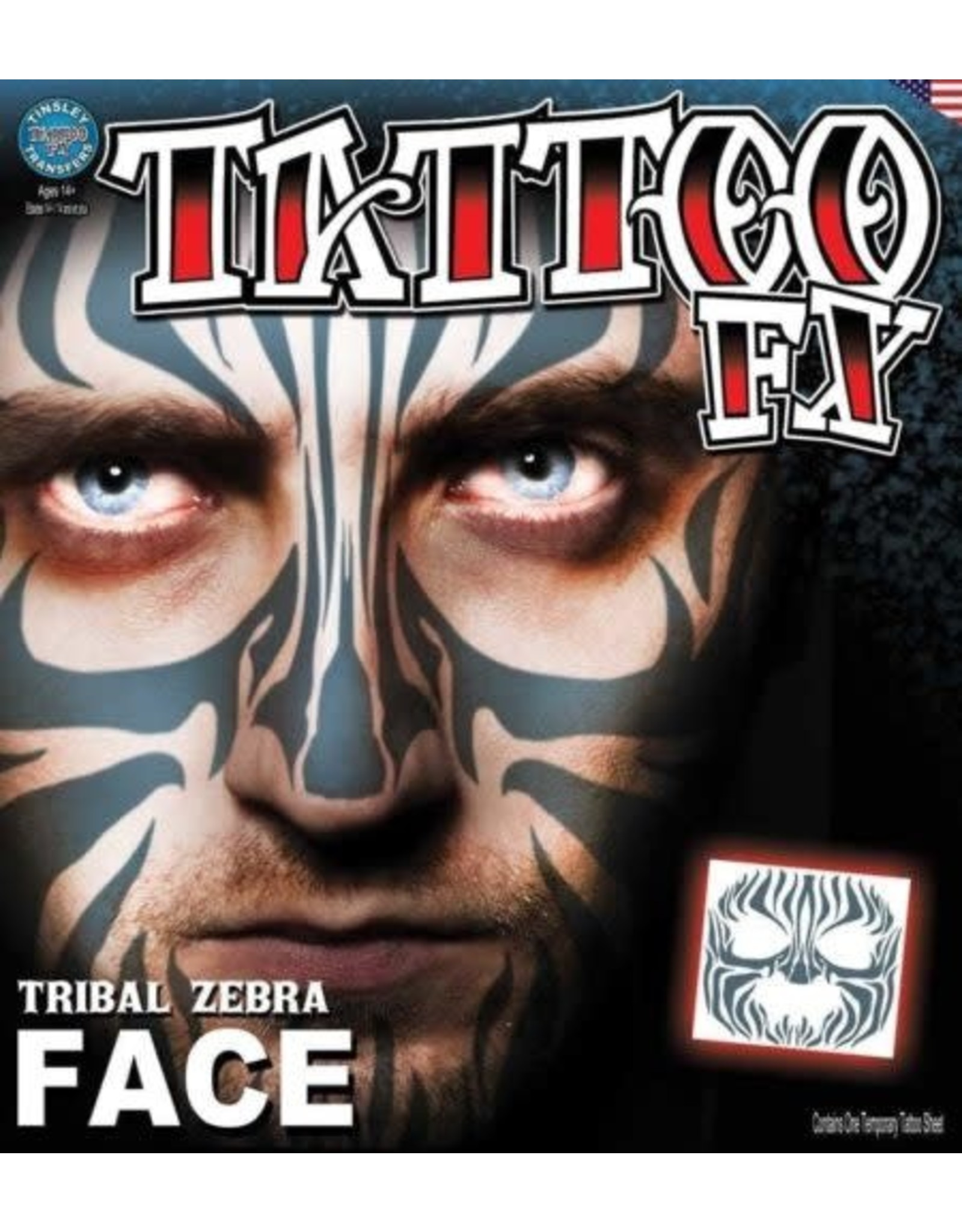 Tinsley Transfers Zebra Face Tattoo