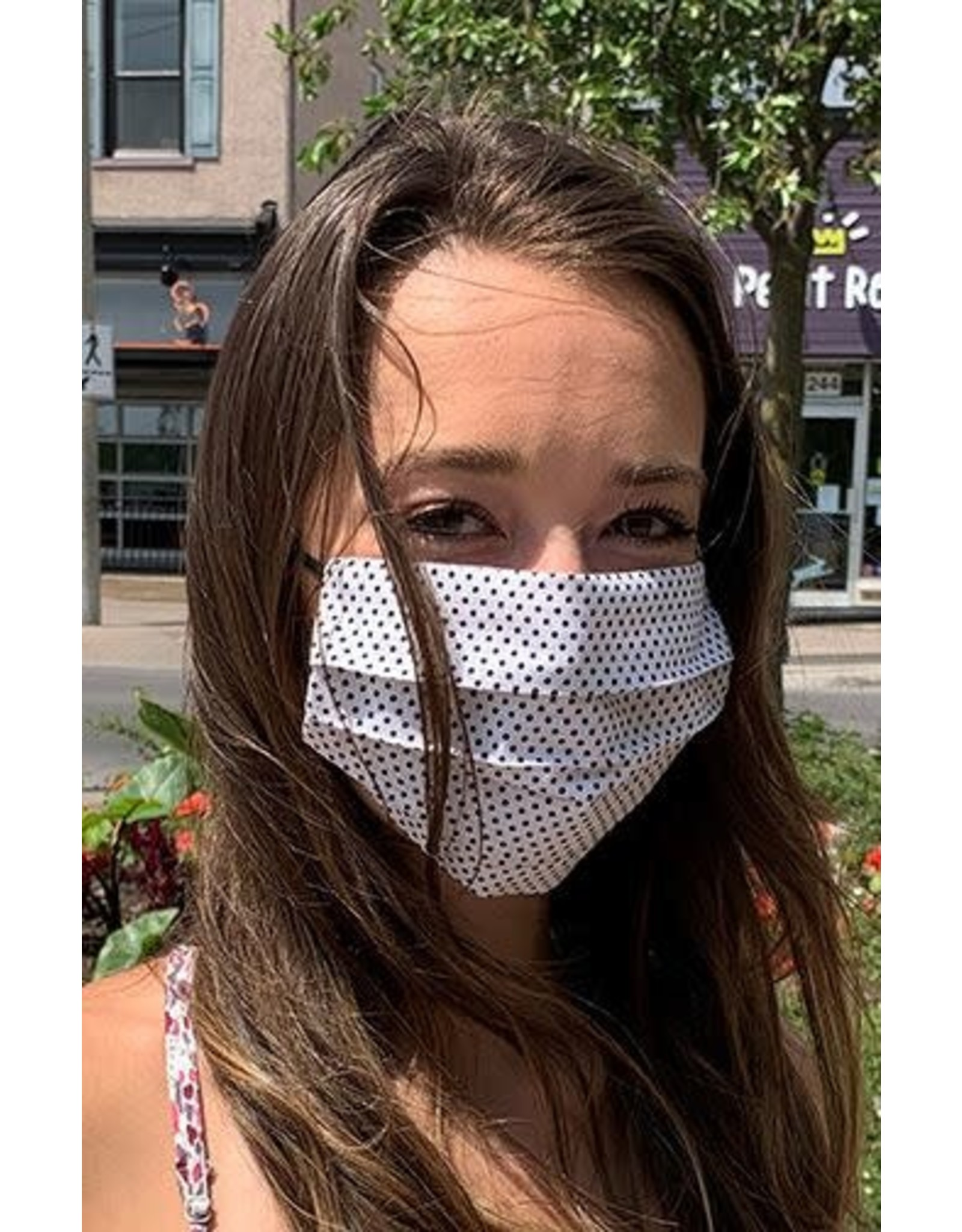 Mondor Junior Cotton Pleated Mask - Polka Dot