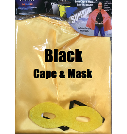HM Smallwares Superhero Cape w/Mask Black