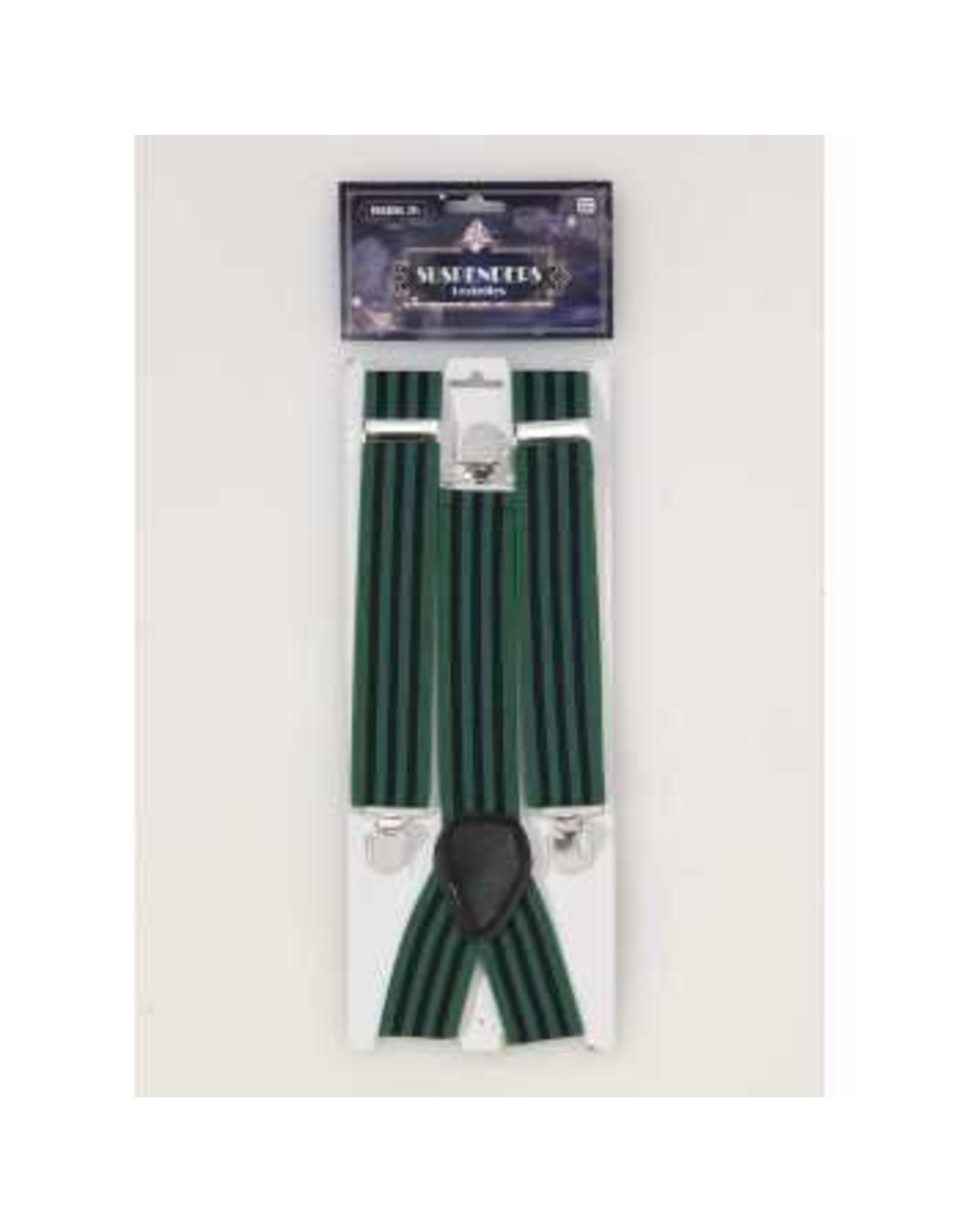Forum Novelties Inc. Roaring 20's Striped Suspenders - Navy/Green