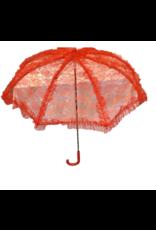 """HM Smallwares 24"""" Lace Parasol Red"""