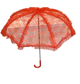 "HM Smallwares 24"" Lace Parasol Red"