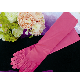 fH2 Long Satin Gloves Hot Pink