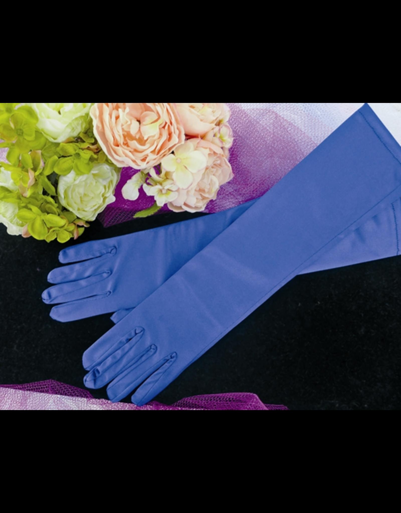 fH2 Long Satin Gloves Royal Blue
