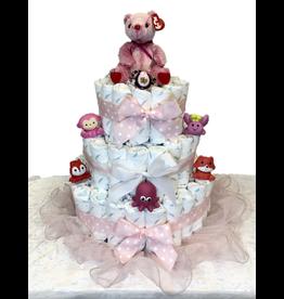 Diaper Cakes by Leah Pink Bear Diaper Cake