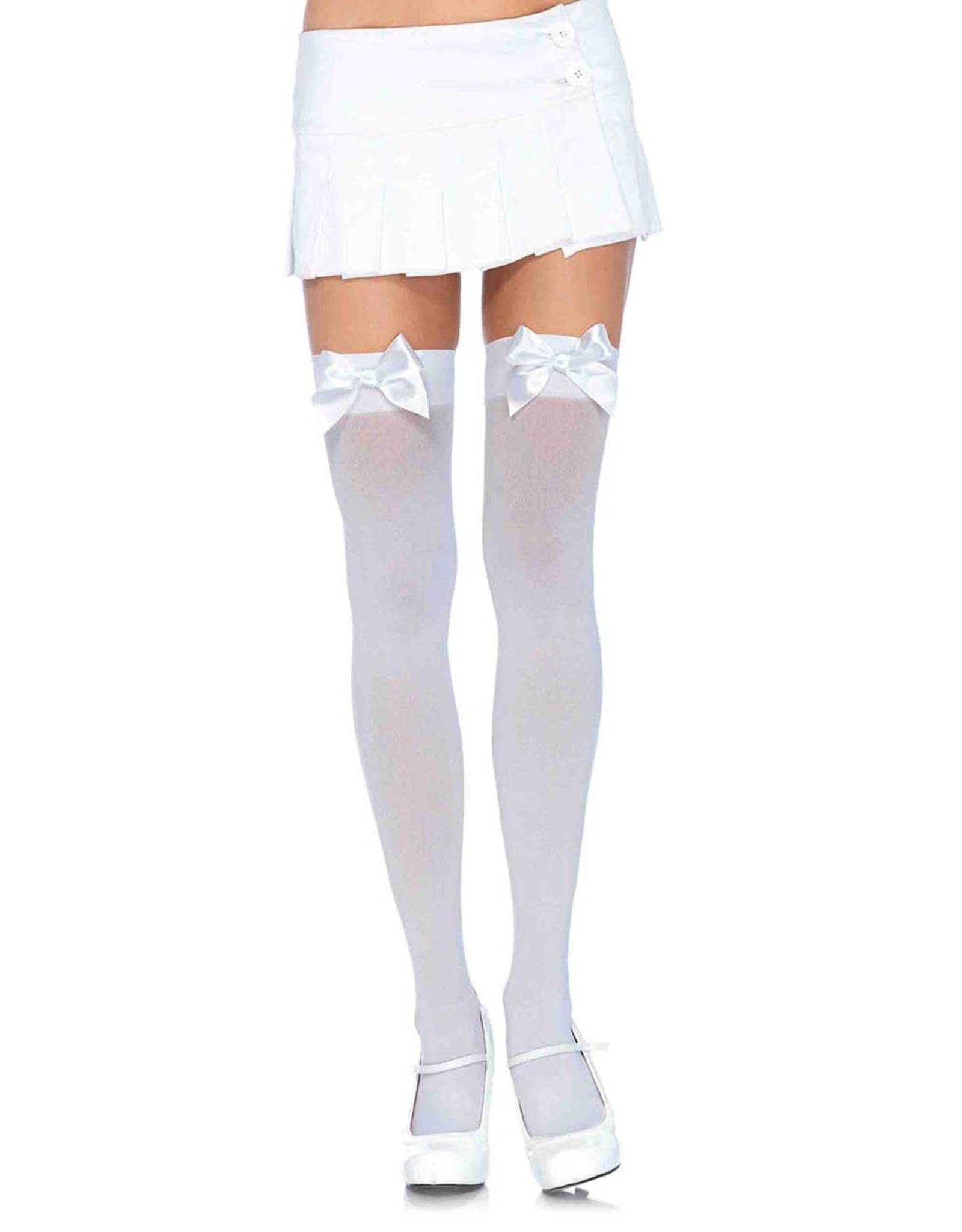 Leg Avenue White Nylon Thigh Highs w/Bow