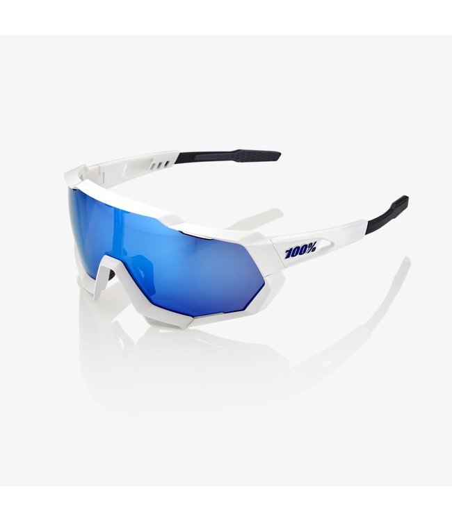 100% SPEEDTRAP MATTE WHITE W/ HIPER ICEBERG BLUE MIRROR LENS