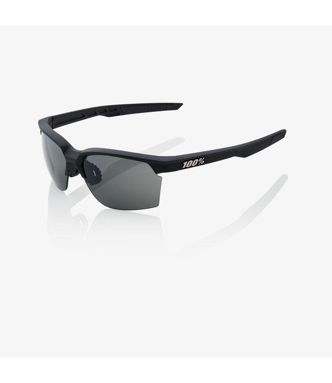 100% SportCoupe Sunglasses, Soft Tact Black Frame, Smoke Lens