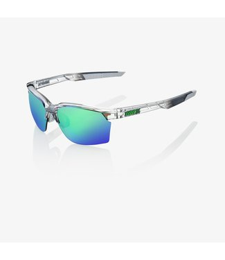 100% SportCoupe Sunglasses, Polished Translucent Crystal Grey Frame, Green Multilayer Mirror Lens