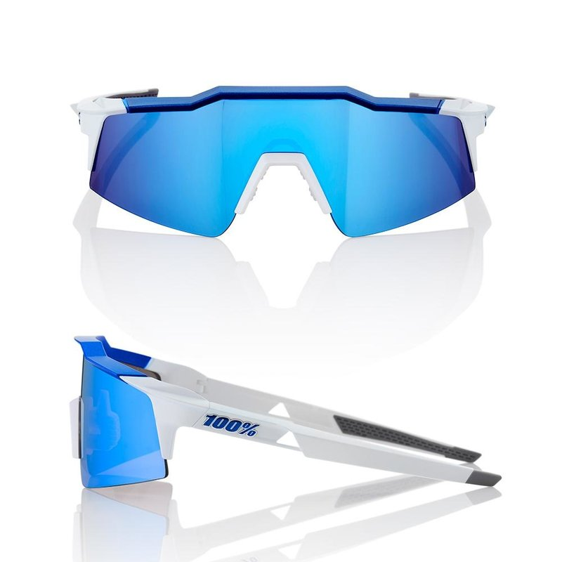 100% SPEEDCRAFT SL MATTE WHITE / BLUE W/ HIPER ICEBRG BLUE MIRROR