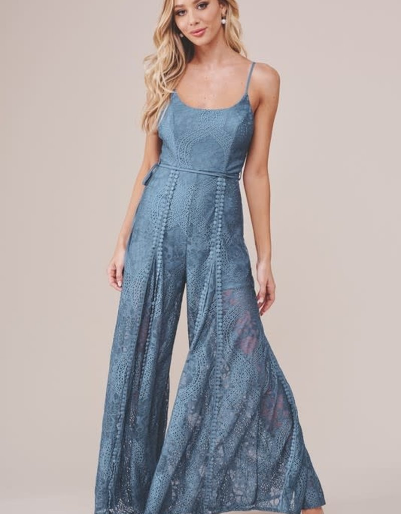 JANA LACE CROCHET WIDE LEG JUMPSUIT