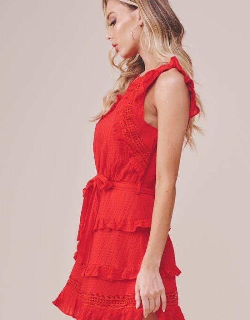 EMMA RUFFLED TRIM SHIFT DRESS