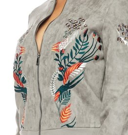 LULU EMBROIDERY ZIP FRONT JACKET