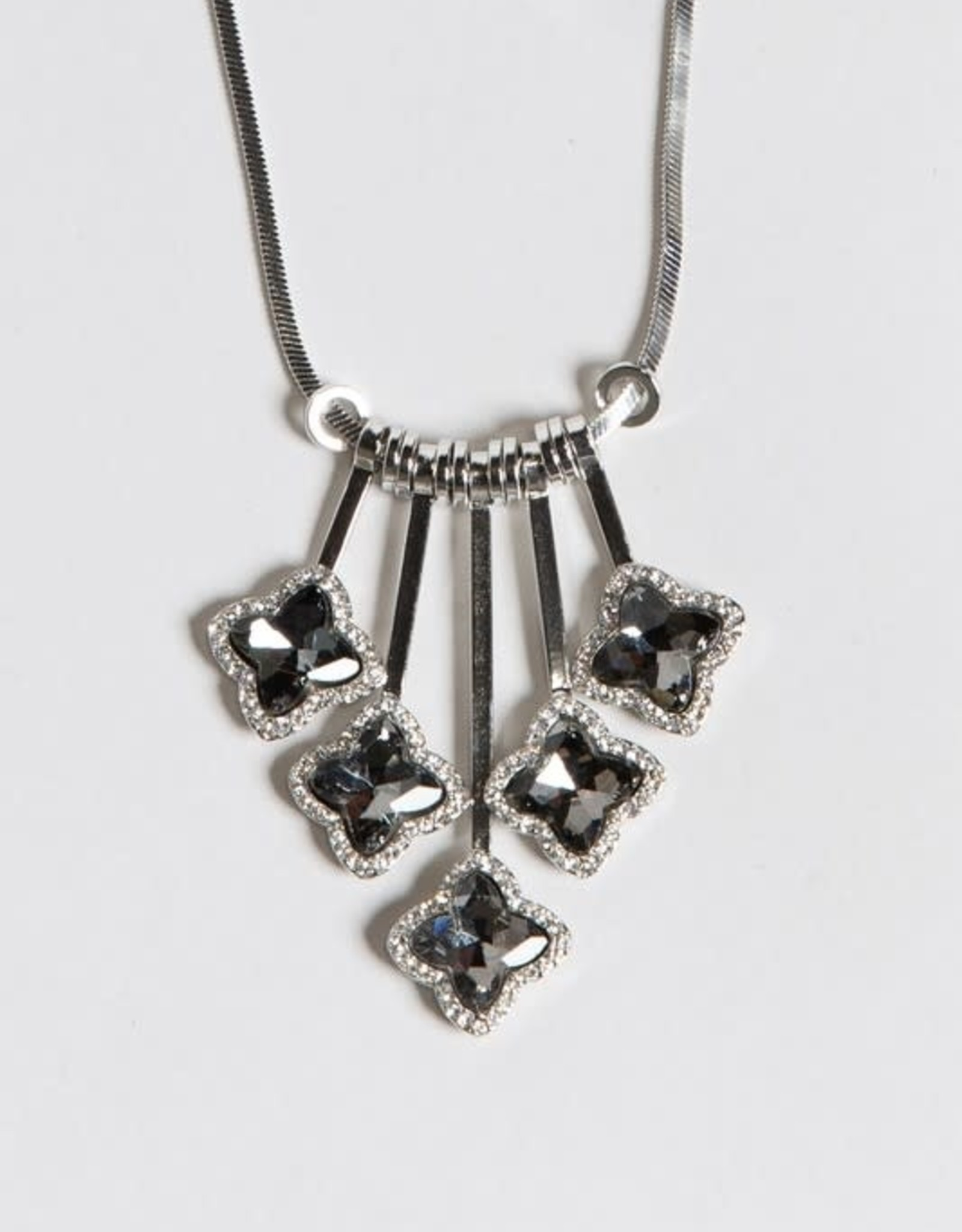 CASCADING BLACK CRYSTAL & SILVER NECKLACE