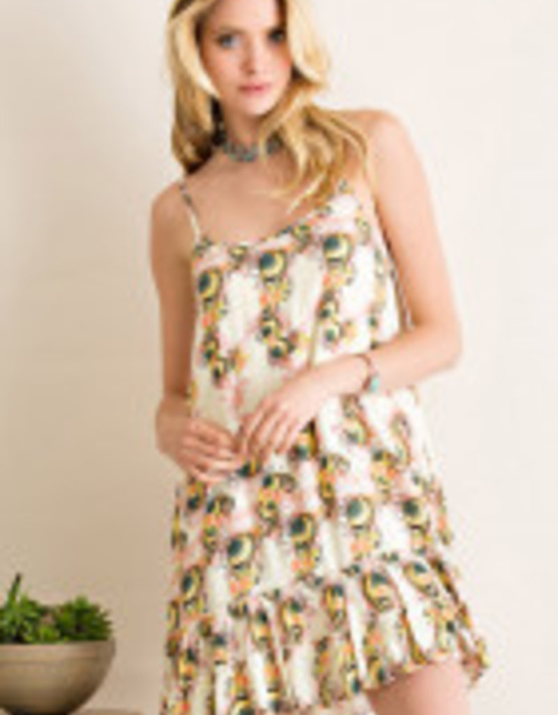 ALLIE PRINTED SLIP DRESS WITH RUFFLES