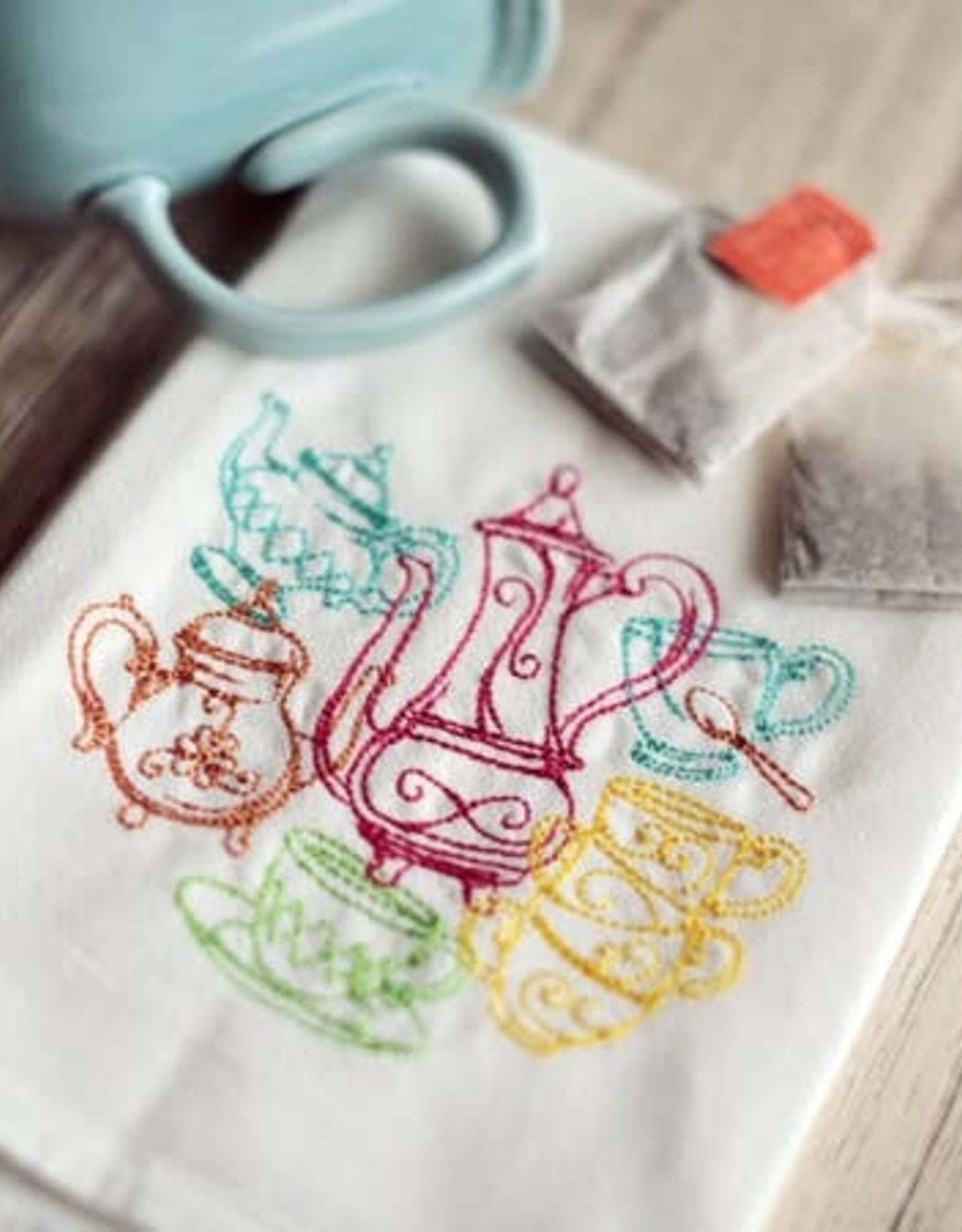 TEAPOTS TEA TOWEL- Embroidered