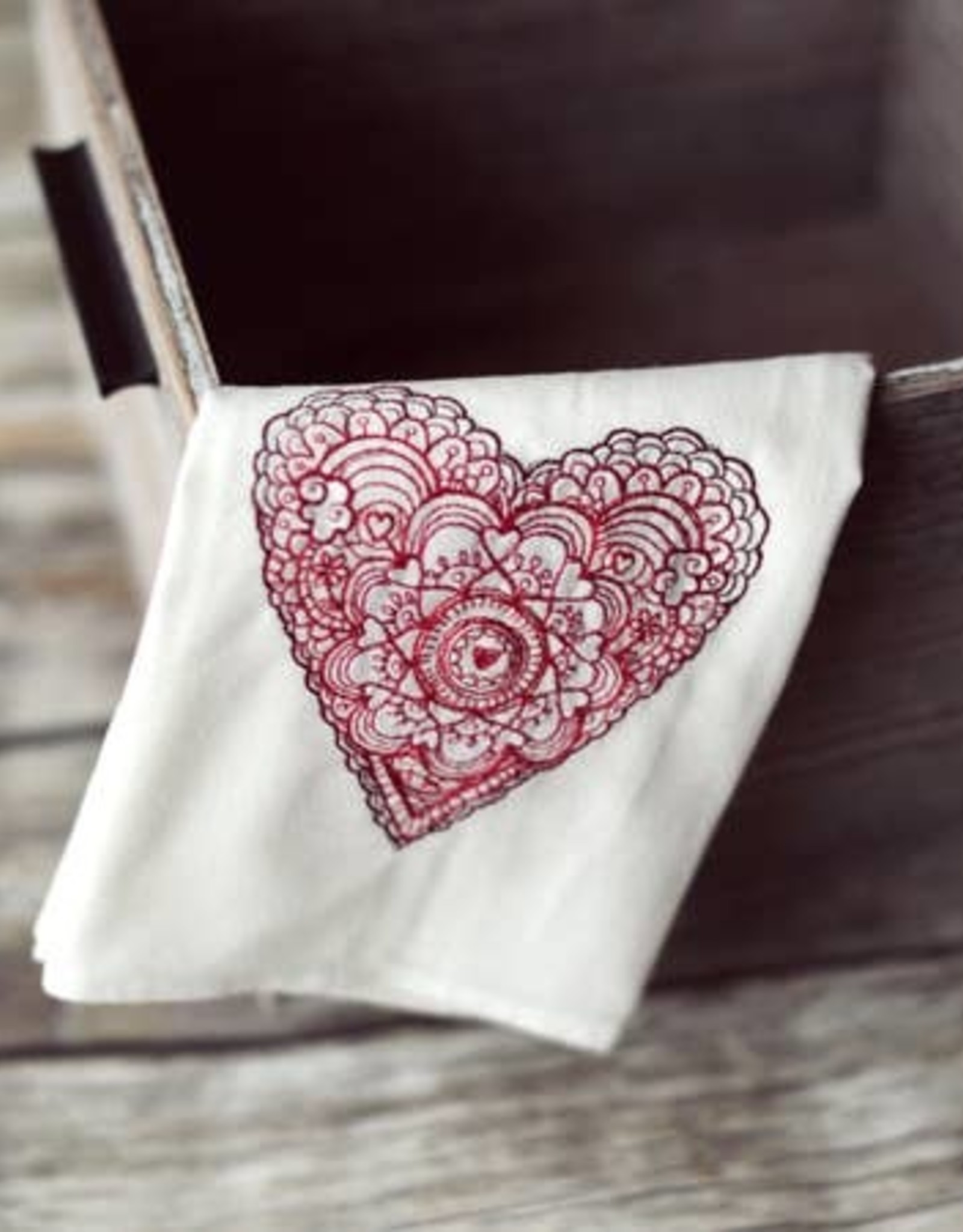 WINTER LACE HEART TEA TOWEL - Embroidered