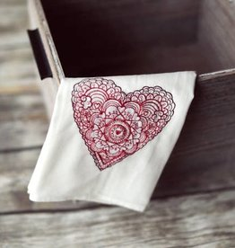 WINTER LACE HEART TEA TOWEL- Embroidered