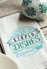 STUPID DISHES TEAL TEA TOWEL- EMBROIDERED