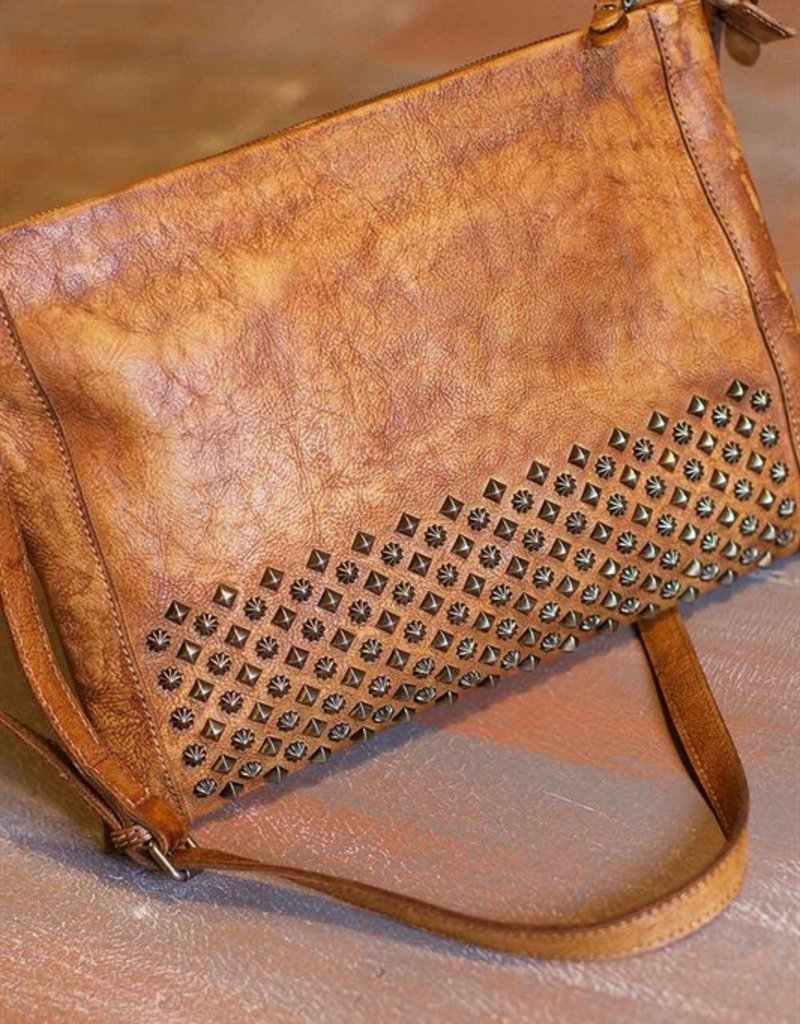 METALLIC STUDDED SHOULDER BAG BROWN