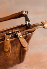 METALLIC STUDDED SHOULDER BAG BROWN
