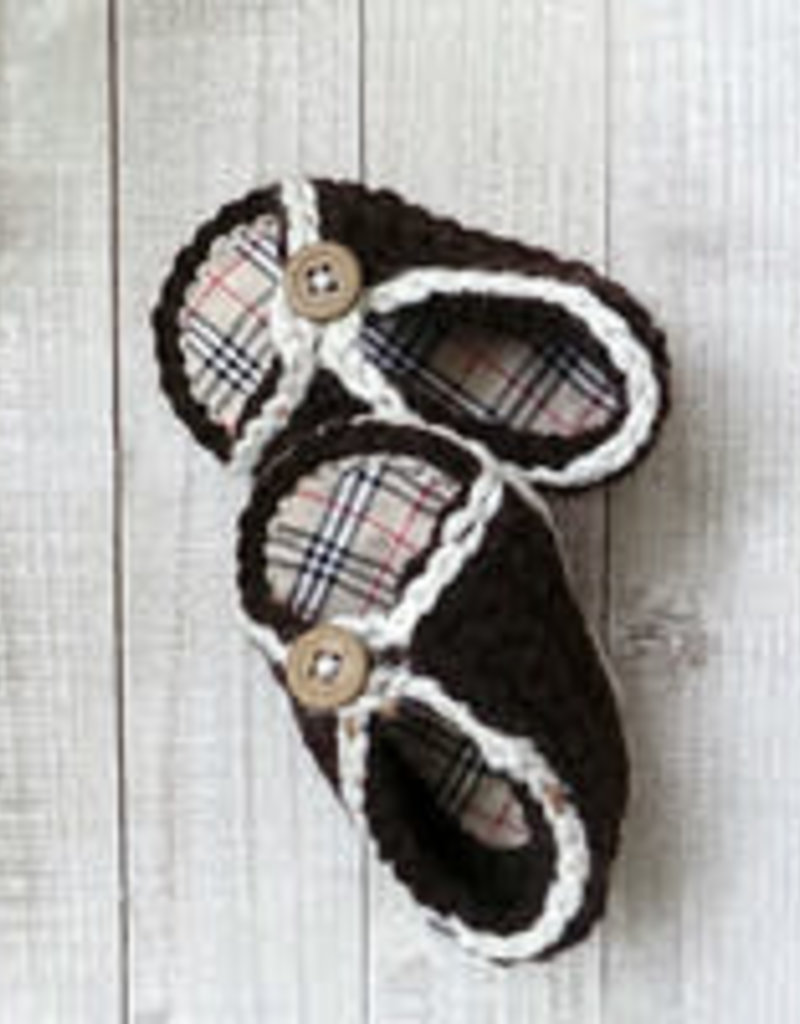 PLAID SPIRIT CABLE KNIT BROWN PLAID BABY SHOES