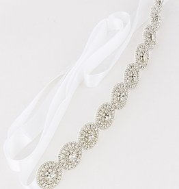 MEDALLION RHINESTONE BRIDAL SASH BELT