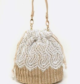 COTTON LACE STRAW BUCKET BAG