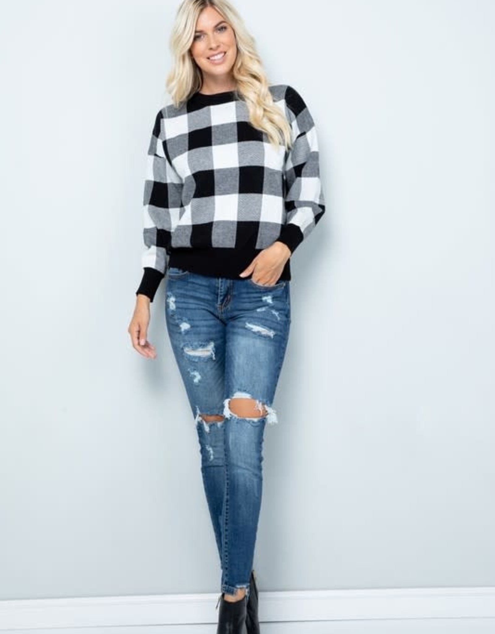 SWEET LOVELY BY JEN BLACK AND WHITE CHECK SWEATER